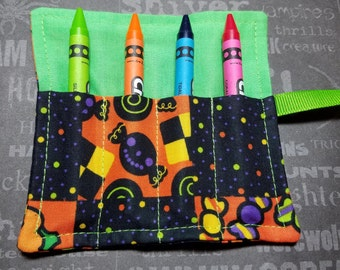 Halloween Mini Crayon Keeper Roll Up Holder  4-Count Party Favor - Franken Kitty