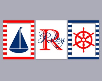 Boy Nautical Nursery Art - Baby Name Art - Boy Nursery Decor