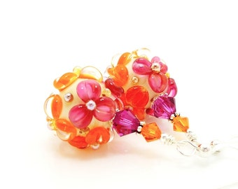 Pink Orange Earrings, Floral Earrings, Lampwork Earrings, Glass Bead Earrings, Glass Earrings, Bright Earrings, Colorful Earrings