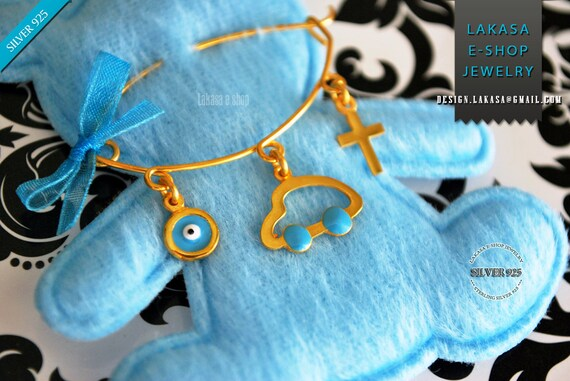 Blue Enamel Car Baby Brooch Sterling Silver 925 Gold-plated Handmade Jewelry Cross Eye Mama Happy Shower Day Religious Baptism Newborn Boy