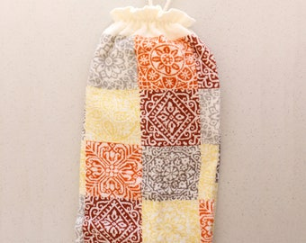 Plastic Bag Holder/Fall Color Squares Grocery Bag Holder/Terry Cloth Bag Organizer with Fall Colors Squares/Terry Cloth Bag Holder/Dispenser