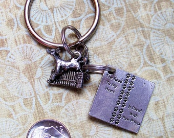 Agility Dog Charm with The Road To My Heart Is Paved With Paw Prints Charm Keyring