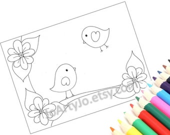 Printable Coloring Page pdf file, Cute Birds- Page 2