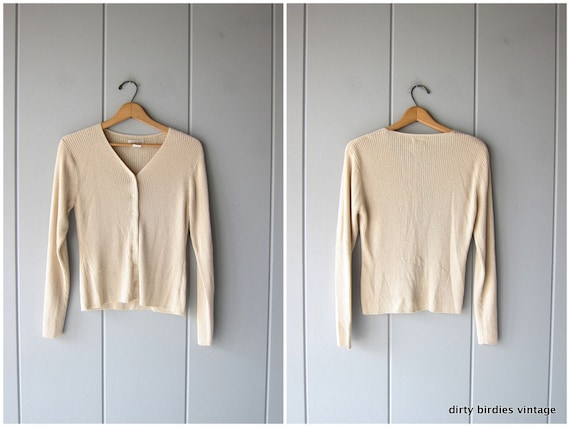 Minimal Rib Knit Top Long Sleeve Beige Button Up Ribbed Knit Shirt Minimal Thin Textured Sweater Vintage 90s Womens Small