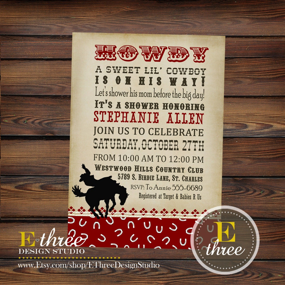 Cowboy Baby Shower Invitation Boy\'s Shower Invitations