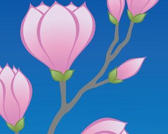 Purple Magnolia Flower Art Print, Nature Floral Print Blue Wall Art Botanical Print Blue Home Decor Wall Decor Mothers Day Spring Decor