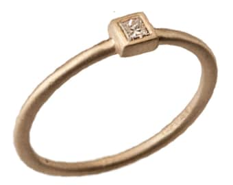 Stackable Diamond Ring, Diamond 14kt Yellow Gold Stacking Ring, Handmade by Gevani
