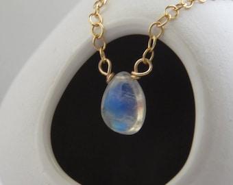 Rainbow Moonstone • Teardrop Necklace • Moonstone Pendant • Delicate Jewelry • Layering Necklace • Rainbow Gemstone • Genuine Moonstone