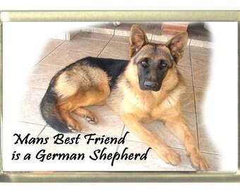 Man's Best Friend is a German Shepherd Dog Fridge Magnet 7cm by 4.5cm,