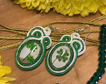 Soutache handmade clover earrings