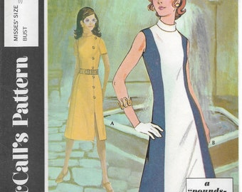 Post Cereal Pattern B McCall's #2754 Misses Sizes 8 Bust 31.5 A Pounds Thinner Pattern Dress Stitch Trim Front Underlay & Vent Button Trim