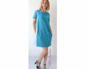 Blue Casual dress Women short sleeve dress Pregnancy dress Boat neck dress with pockets summer dress Mini Office dress Party Striped dress