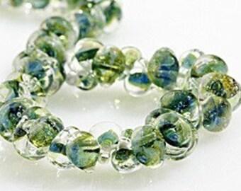 10 Multi Forest Green Teardrop Handmade Lampwork Beads - 10mm (21045)