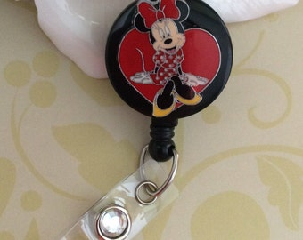Minnie Mouse Heart Retractable ID Badge Reel, Nurse Badge Reel