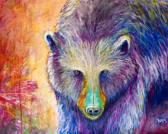 Contemporary BEAR Giclee Print of the original PAINTING on Stretched CANVAS Black Brown Bear Wall Art Signed Ready to Hang