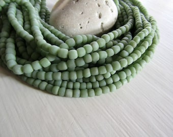 small matte light green bead,  opaque glass bead, irregular barrel tube spacer, New Indo-pacific 3 to 6 mm / 22 inche strand - 7ab29-30