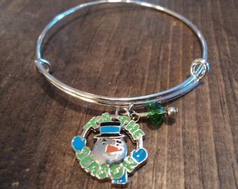 Christmas bracelet tis the season snowman