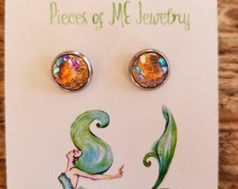 Mermaid scale, faux druzy, mermaid earring, earrings, little mermaid, cute earrings, ocean lover, stainless steel