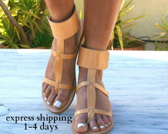 DANAE sandals/ Greek leather sandals/ ankle cuff sandals/ ancient grecian sandals/ handmade thong sandals/ natural leather color sandals
