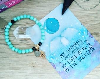 Heart Chakra Beaded Bracelet with Hamsa Hand & Heart Charms