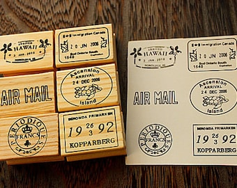 Vintage Wood Postmark Stamp Set - Rubber Stamp Set -Diary Stamp-TraveL Stamp- Deco Stamps-D
