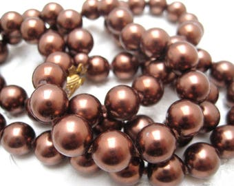 Gift Vintage 1960s Flapper Style BROWN Faux Pearl Glass Bead Necklace