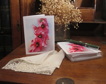 "Pink HollyhocK Note Cards, Original Fine Art Reprint, Blank Card Set (6) - ""Hollyhock Glory"" - FREE SHIPPING"
