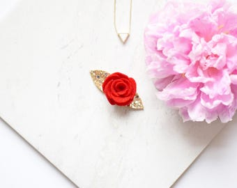 Red and gold glitter flower hair clip, made with 100% wool felt flower | hair accessories for weddings and parties