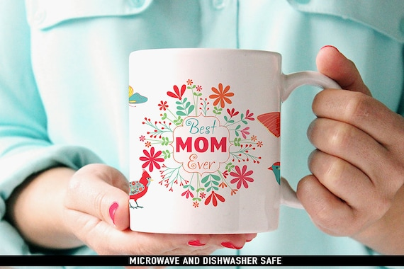 Mothers Day Coffee Mug with Butterflies, Birds and Flowers