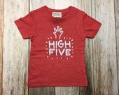 "Infant Red Short Sleeved Shirt with ""High Five&quo..."