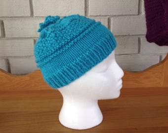 Youth aqua/teal  hand knit beanie winter hat