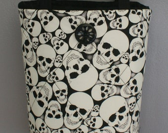 Skull Tote,Glow in the dark Tote,Quilted Tote,Quilted Handbag,Skull Fabric,Black and White Skull Tote,Skull Purse,Bags and Purse