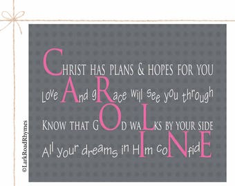 Religious Wall Decor Baby Girl Christening Gift Baptism Gift For Goddaughter From Godmother Baby Blessing Baby Dedication Poem 8x10 Caroline
