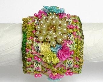 Bracelet fancy Chiffonnelle crocheted, romantic jewelry spring summer crochet art, textile, crocheted, recycled jewelry