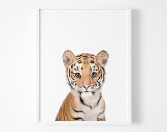 Tiger Print, Baby Animal Nursery Art Prints, Safari African Animal, Cute Tiger Cub Photo, Nursery Animal Wall Art, Printable Nursery Decor