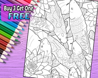 Koi Fish Pond - Adult Coloring Book Page - Printable Instant Download