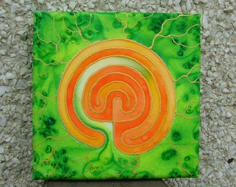Labyrinth Silk Painting Meditation Mandala  Green and Orange Spiritual Journey