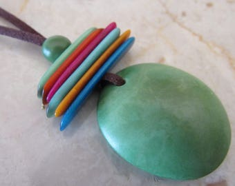 Mother's Day Gift, Green Tagua Necklace, Ecofriendly Necklace, Tagua Nut Necklace, Pendant Necklace, Boho Necklace, Boho Jewelry