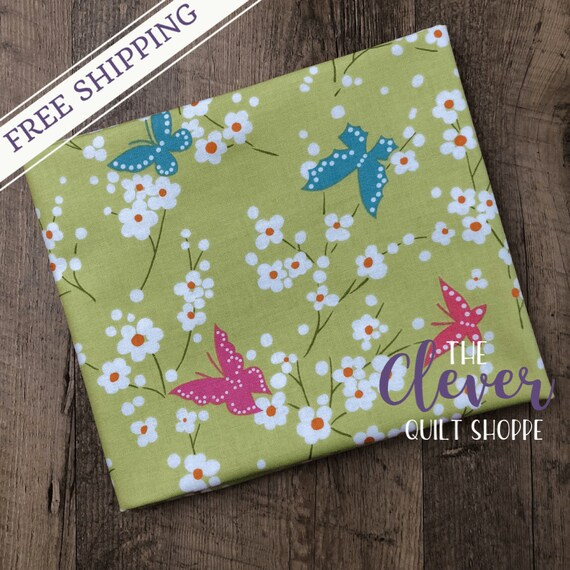 Yardage, Michael Miller Fabric, Project Dovetail, Butterfly Blossoms, Grass, Flowers, Pink, Green, Blue, Garden, Whimsy,