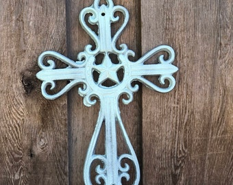 Rustic Cross, Mist Blue Metallic Cross, Western Cast Iron Cross