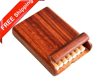 Rosewood Cigarette Case for 7 King-size Standard Cigarettes, Handcrafted Wooden Cigarette Box, Smoke Holder