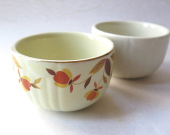 Hall Bowls Autumn Leaf Jewel Set of Two 3.5 Diameter Hall's Superior Quality Kitchenware Pottery Retro Kitchen Baking Cups