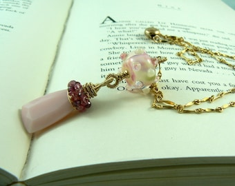Pink Opal/Pink Sapphire/Lampwork Gold Fill Necklace