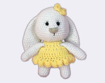 White Rabbit Plush Bunny Soft Toy Amigurumi Bunny Plush White Bunny Doll Knitted Soft Toy Knitted Bunny Amigurumi Rabbit Plush Bunny Toy