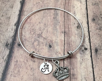 Crown initial bangle - crown jewelry, pageant bracelet, silver crown pendant, princess jewelry, pageant jewelry, princess crown bracelet