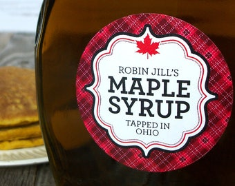 Custom Red Plaid Maple Syrup labels, customized maple syrup leaf bottle labels printed with YOUR name, personalized round canning jar labels