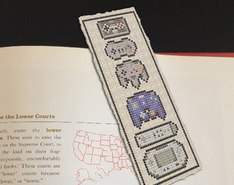 Nintendo Controllers Cross Stitch Bookmark Pattern - Instant Download PDF