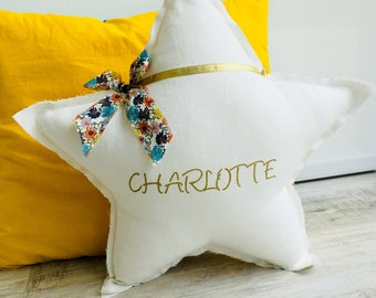 Cushion star white linen and Liberty of London