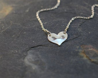 heart necklace, small heart necklace, heart and arrow, sterling silver heart, gold heart, simple necklace, valentines day necklace, N177