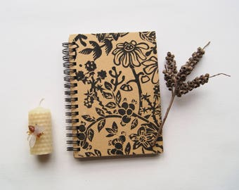 Mouse In The Hedgerow- Lino Print A6 Hardback Notebook Hand-Printed
